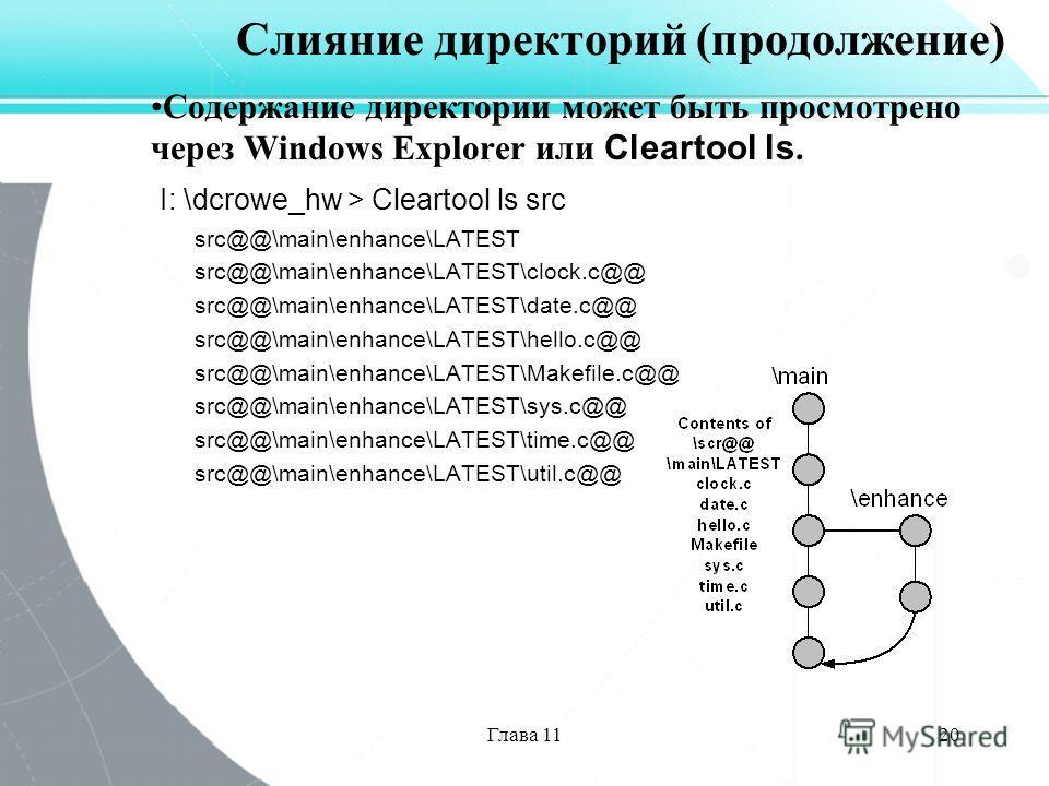 Глава 1120 Слияние директорий (продолжение) Содержание директории может быть просмотрено через Windows Explorer или Cleartool ls. I: \dcrowe_hw > Cleartool ls src src@@\main\enhance\LATEST src@@\main\enhance\LATEST\clock.c@@ src@@\main\enhance\LATEST