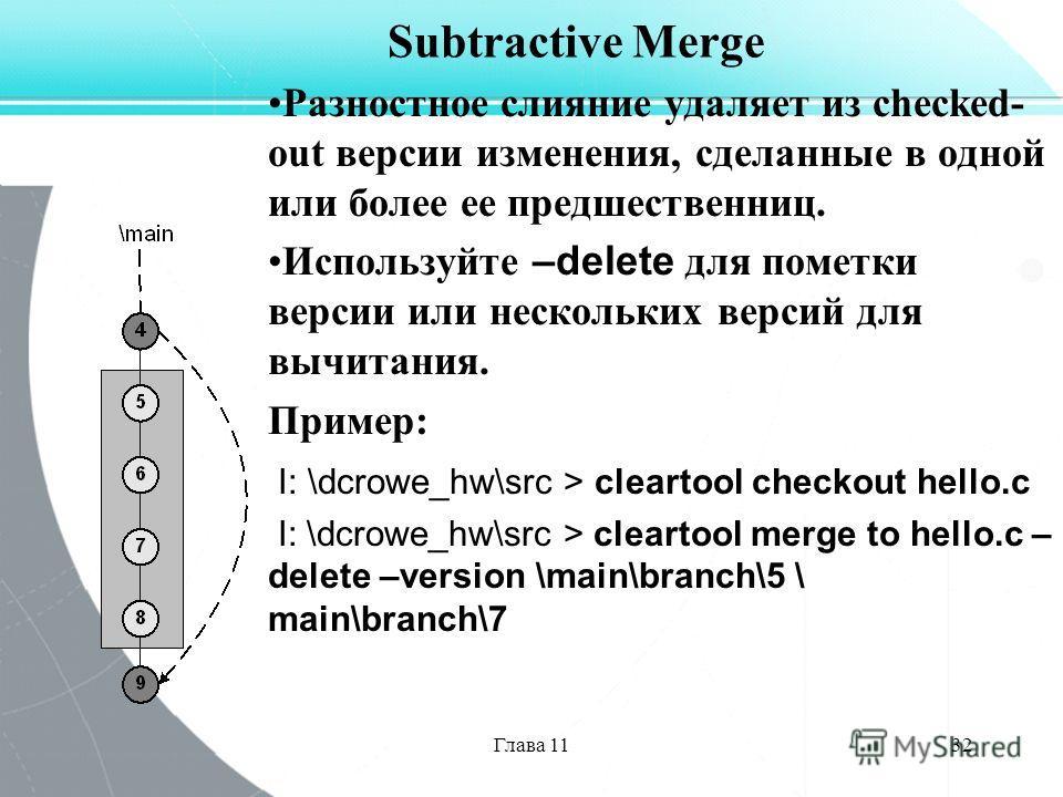 Глава 1132 Subtractive Merge Разностное слияние удаляет из checked- out версии изменения, сделанные в одной или более ее предшественниц. Используйте –delete для пометки версии или нескольких версий для вычитания. Пример: I: \dcrowe_hw\src > cleartool