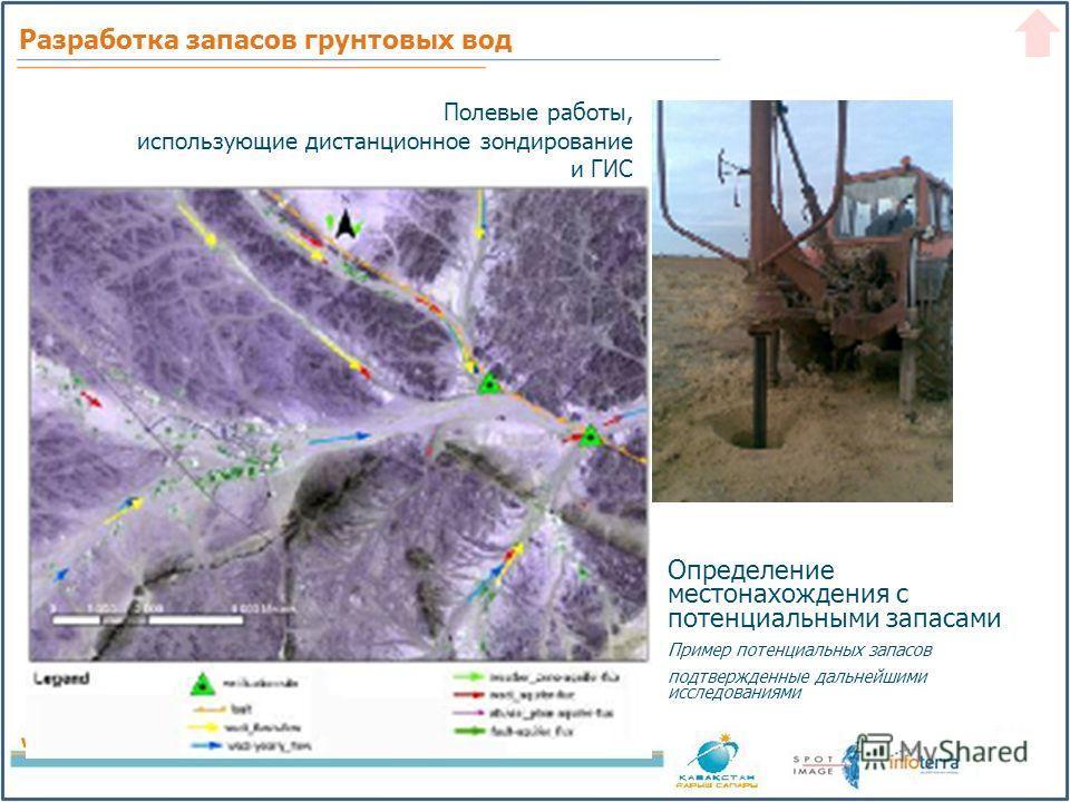 Определение местонахождения с потенциальными запасами Пример потенциальных запасов подтвержденные дальнейшими исследованиями Полевые работы, использующие дистанционное зондирование и ГИС Разработка запасов грунтовых вод
