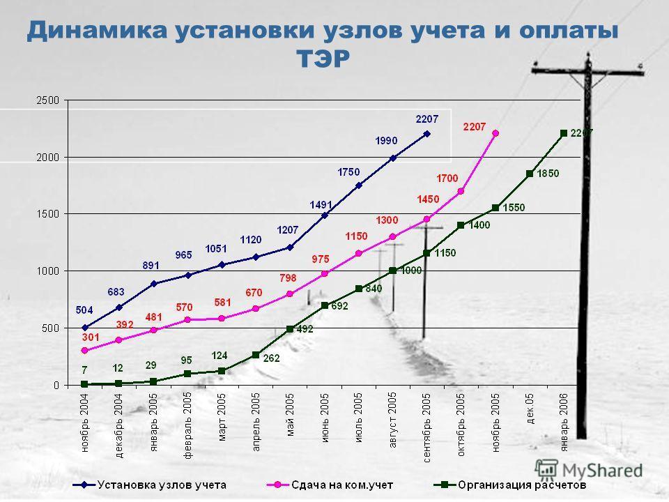 Динамика установки узлов учета и оплаты ТЭР