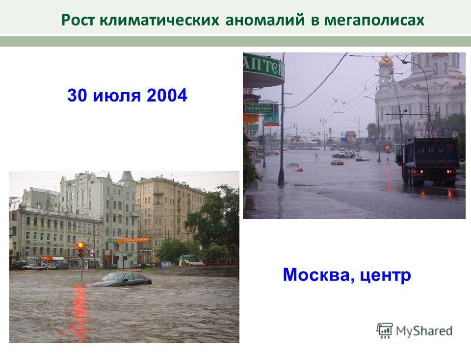 30 июля 2004 Рост климатических аномалий в мегаполисах Москва, центр