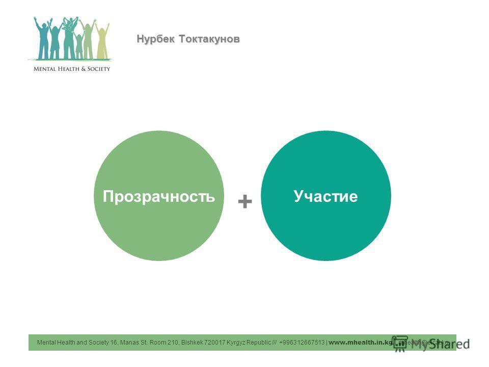 Mental Health and Society 16, Manas St. Room 210, Bishkek 720017 Kyrgyz Republic /// +996312667513 | www.mhealth.in.kg | mhealth@elcat.kg ПрозрачностьУчастие + Нурбек Токтакунов