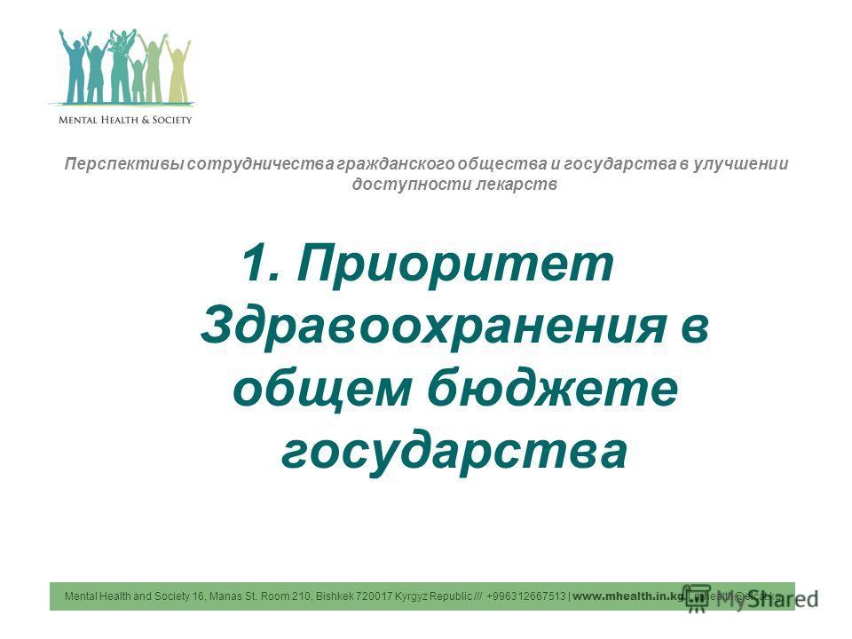 Перспективы сотрудничества гражданского общества и государства в улучшении доступности лекарств 1. Приоритет Здравоохранения в общем бюджете государства Mental Health and Society 16, Manas St. Room 210, Bishkek 720017 Kyrgyz Republic /// +99631266751