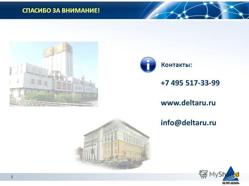5 СПАСИБО ЗА ВНИМАНИЕ! Контакты: +7 495 517-33-99 www.deltaru.ru info@deltaru.ru 5