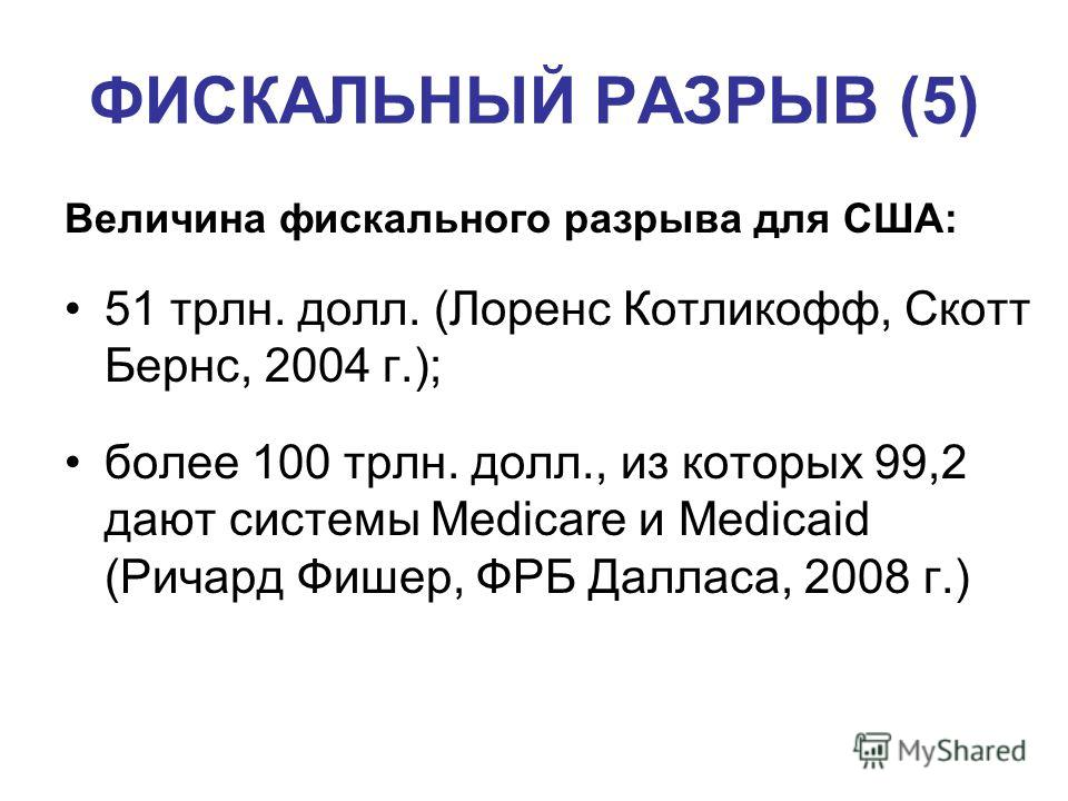 ФИСКАЛЬНЫЙ РАЗРЫВ (5) Величина фискального разрыва для США: 51 трлн. долл. (Лоренс Котликофф, Скотт Бернс, 2004 г.); более 100 трлн. долл., из которых 99,2 дают системы Medicare и Medicaid (Ричард Фишер, ФРБ Далласа, 2008 г.)