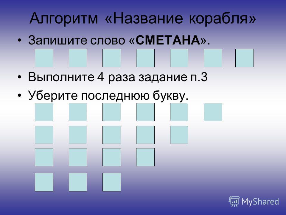 Алгоритм «Название корабля» Запишите слово «СМЕТАНА». Выполните 4 раза задание п.3 Уберите последнюю букву.
