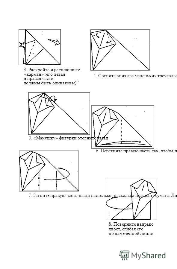3. Раскройте и расплющите «карман» (его левая и правая части должны быть одинаковы) ' 4. Согните вниз два маленьких треугольника (линии сгибов достаточно произвольны) 5. «Макушку» фигурки отогните назад 6. Перегните правую часть так, чтобы правый уго