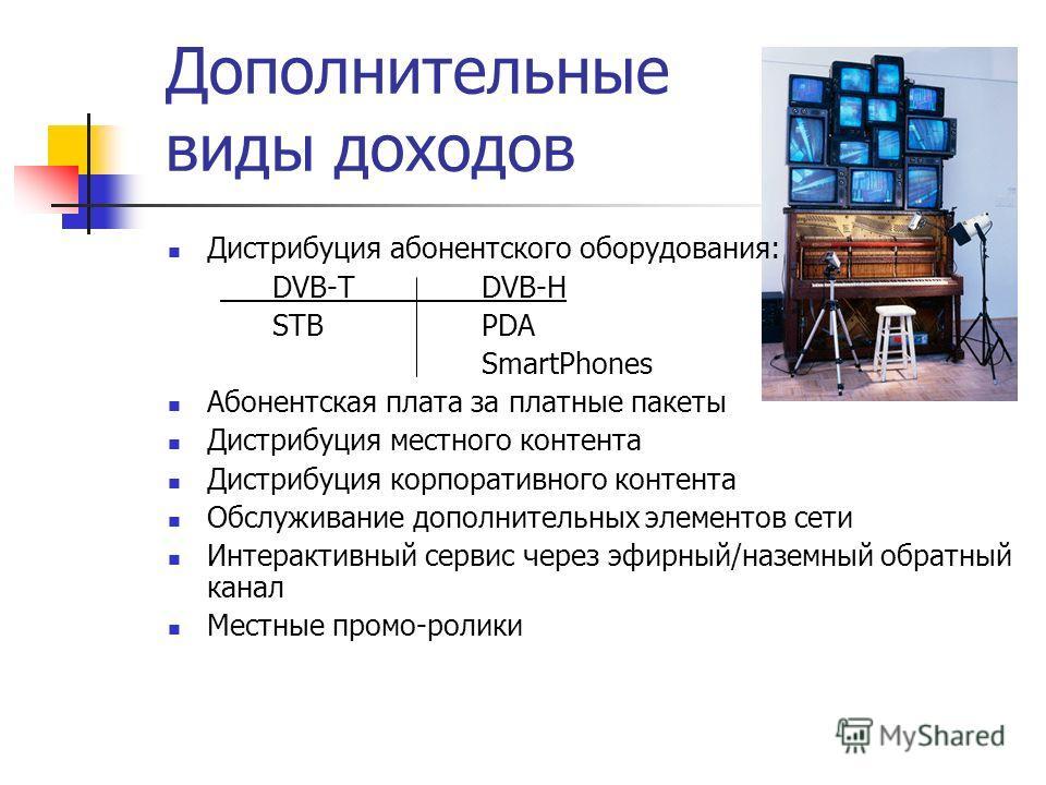 Дополнительные виды доходов Дистрибуция абонентского оборудования: DVB-TDVB-H STBPDA SmartPhones Абонентская плата за платные пакеты Дистрибуция местного контента Дистрибуция корпоративного контента Обслуживание дополнительных элементов сети Интеракт