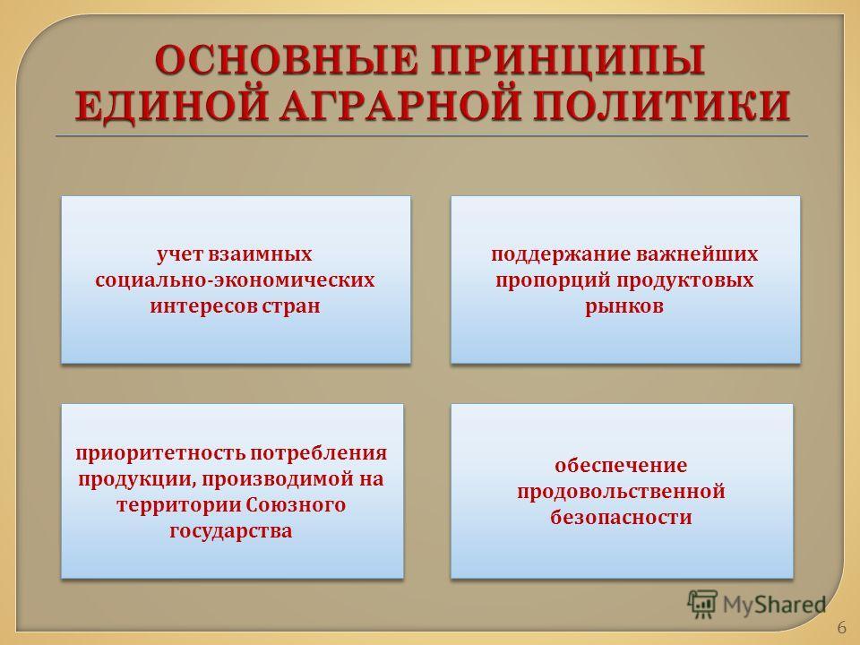 учет взаимных социально - экономических интересов стран учет взаимных социально - экономических интересов стран поддержание важнейших пропорций продуктовых рынков приоритетность потребления продукции, производимой на территории Союзного государства о