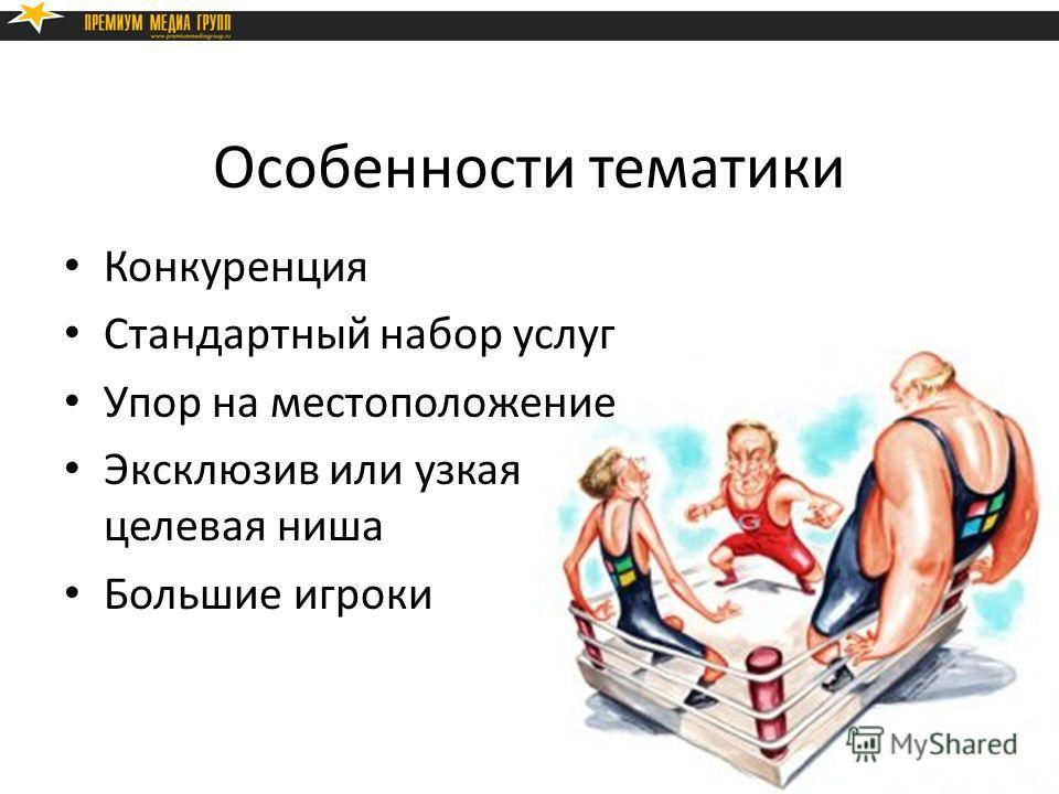 Особенности тематики Конкуренция Стандартный набор услуг Упор на местоположение Эксклюзив или узкая целевая ниша Большие игроки