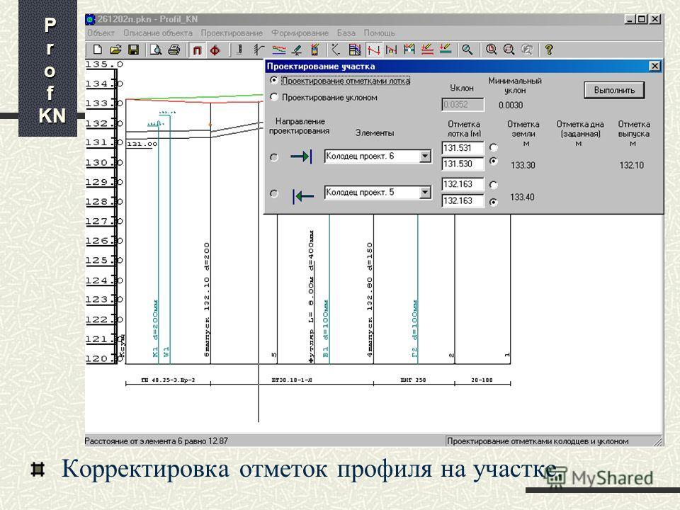 Корректировка профиля на месте пересечения с коммуникацией P r o f KN