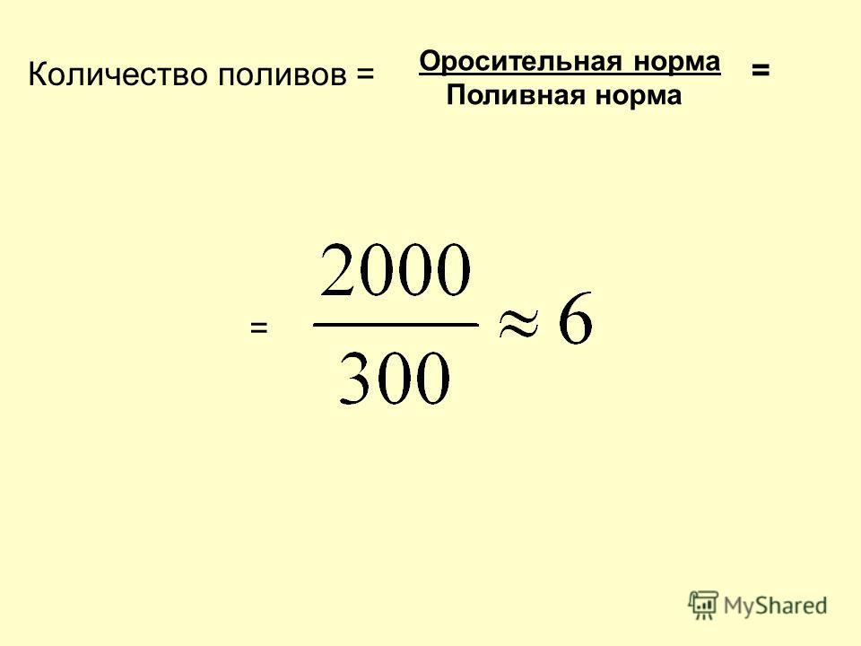 Количество поливов = Оросительная норма Поливная норма = =