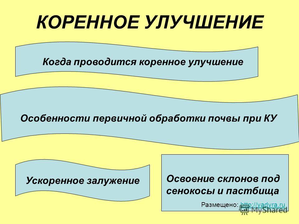 КОРЕННОЕ УЛУЧШЕНИЕ Когда проводится коренное улучшение Особенности первичной обработки почвы при КУ Ускоренное залужение Освоение склонов под сенокосы и пастбища Размещено: http://yadyra.ruhttp://yadyra.ru