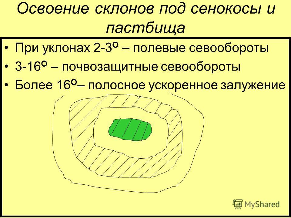 Освоение склонов под сенокосы и пастбища При уклонах 2-3 О – полевые севообороты 3-16 О – почвозащитные севообороты Более 16 О – полосное ускоренное залужение