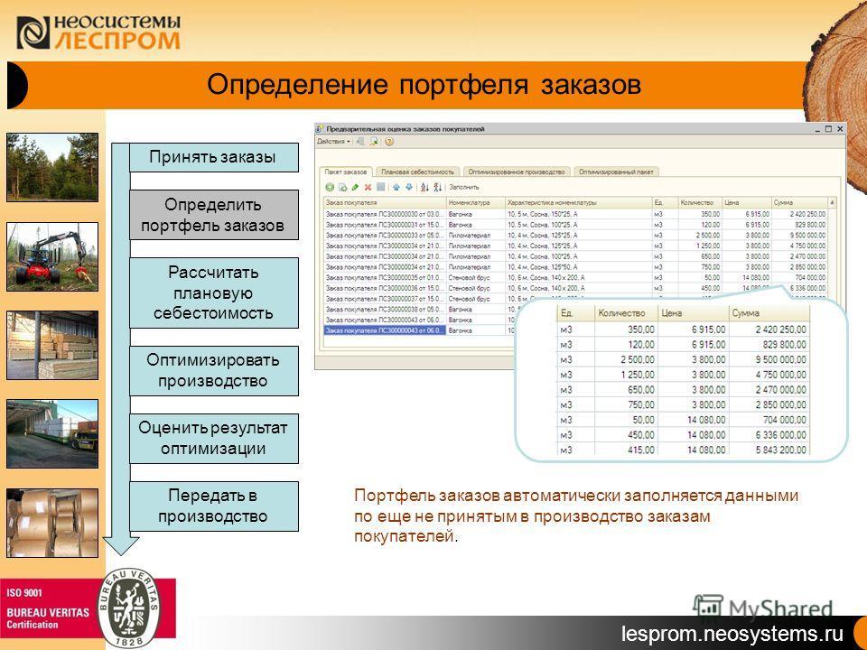 lesprom.neosystems.ru Определение портфеля заказов Портфель заказов автоматически заполняется данными по еще не принятым в производство заказам покупателей. Принять заказы Определить портфель заказов Рассчитать плановую себестоимость Оптимизировать п
