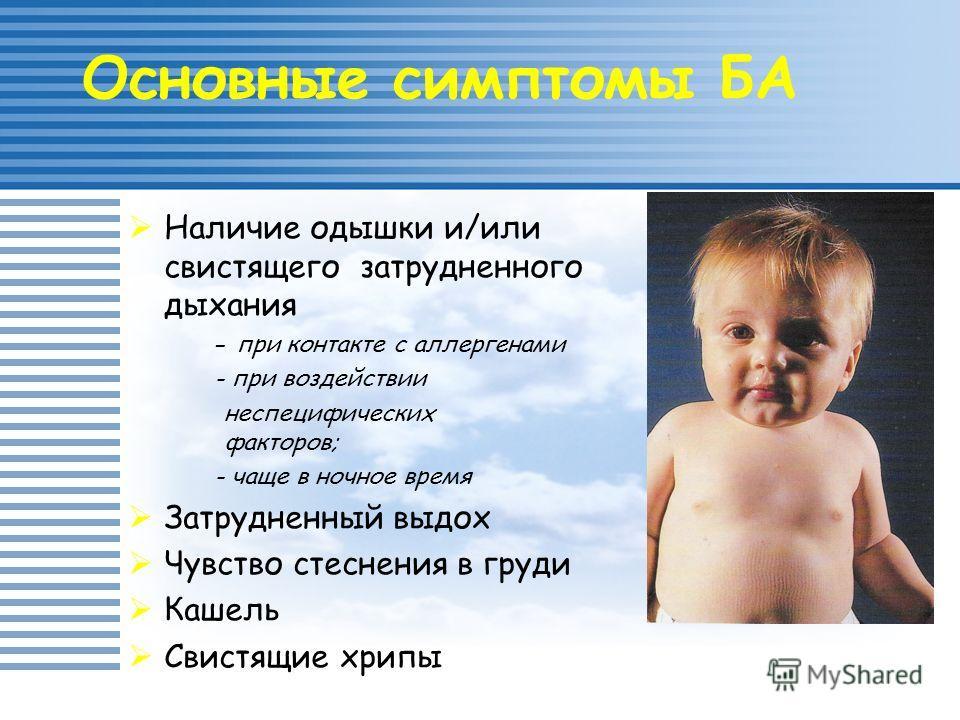 Наличие одышки и/или свистящего затрудненного дыхания - при контакте с аллергенами - при воздействии неспецифических факторов; - чаще в ночное время Затрудненный выдох Чувство стеснения в груди Кашель Свистящие хрипы Основные симптомы БА
