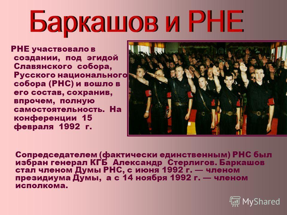 РНЕ участвовало в создании, под эгидой Славянского собора, Русского национального собора (РНС) и вошло в его состав, сохранив, впрочем, полную самостоятельность. На конференции 15 февраля 1992 г. Сопредседателем (фактически единственным) РНС был избр