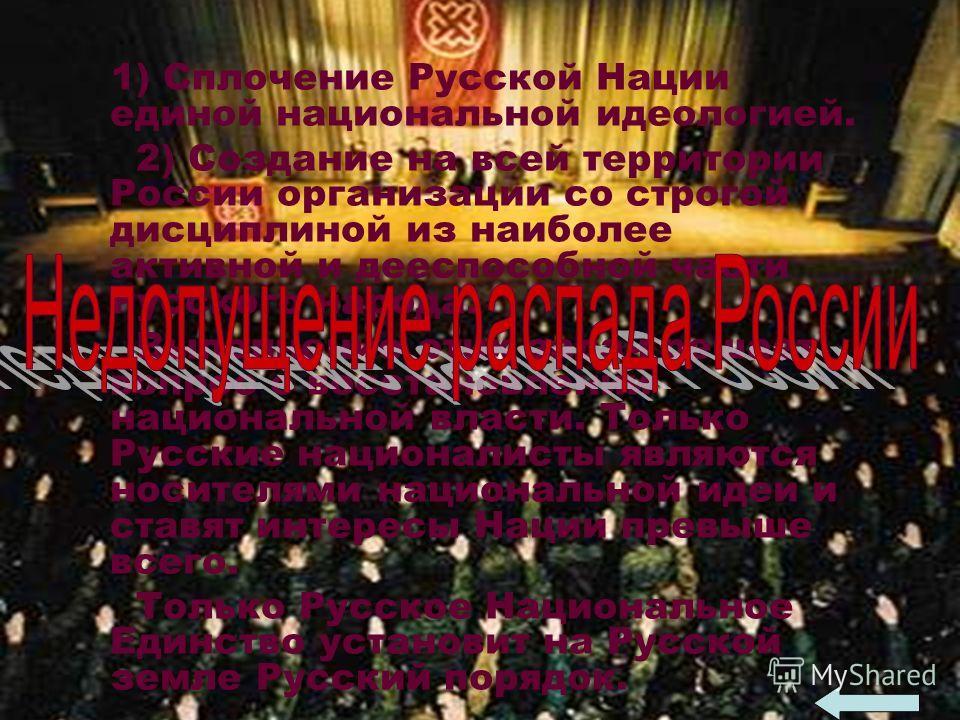 1) Сплочение Русской Нации единой национальной идеологией. 2) Создание на всей территории России организации со строгой дисциплиной из наиболее активной и дееспособной части Русского народа. Выполнение этих задач решает вопрос о восстановлении национ