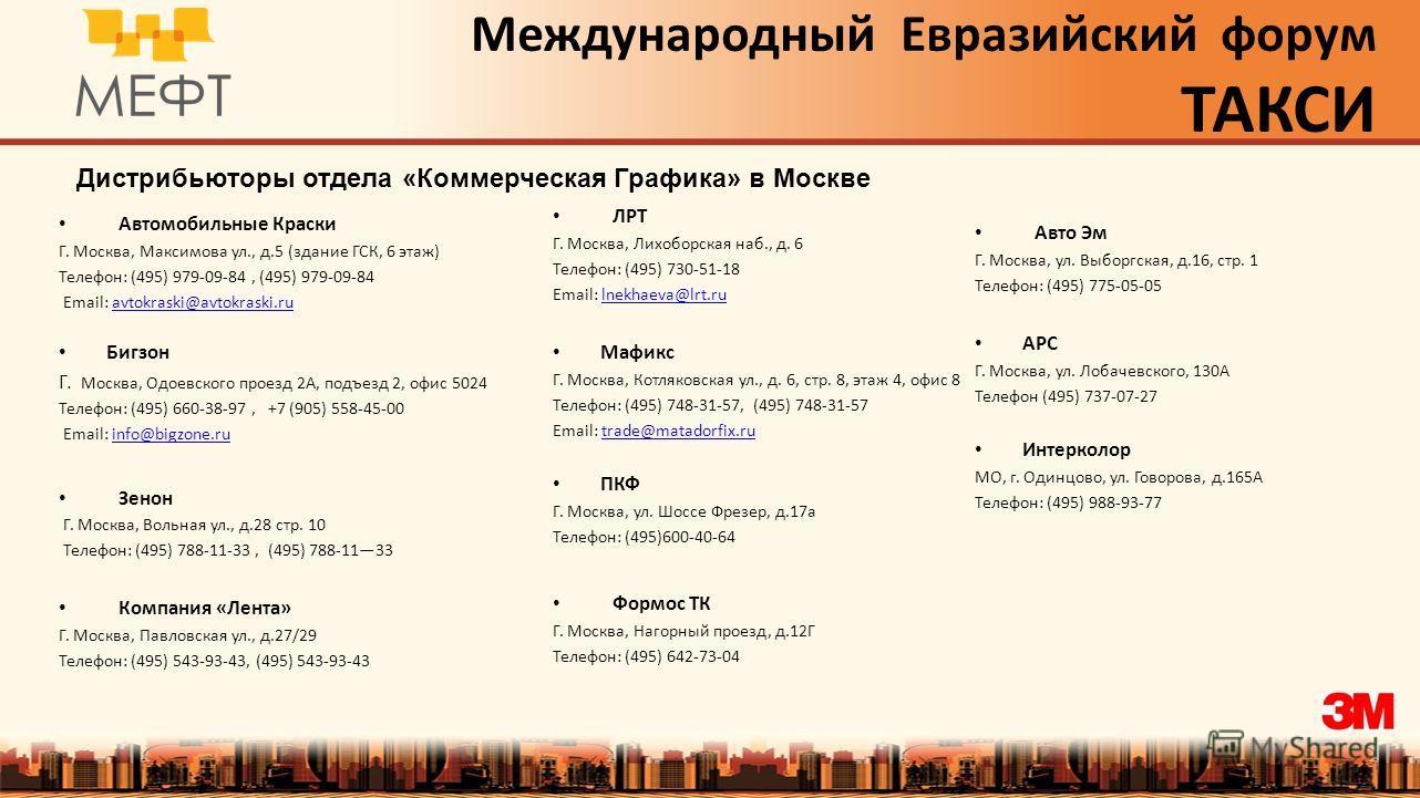 Международный Евразийский форум ТАКСИ Дистрибьюторы отдела «Коммерческая Графика» в Москве Автомобильные Краски Г. Москва, Максимова ул., д.5 (здание ГСК, 6 этаж) Телефон: (495) 979-09-84, (495) 979-09-84 Email: avtokraski@avtokraski.ruavtokraski@avt