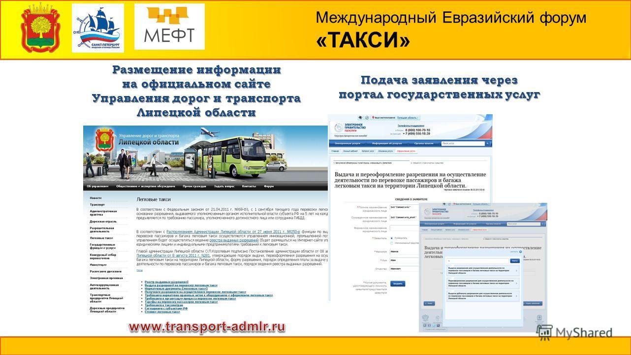 Международный Евразийский форум «ТАКСИ» Подача заявления через портал государственных услуг Размещение информации на официальном сайте Управления дорог и транспорта Липецкой области
