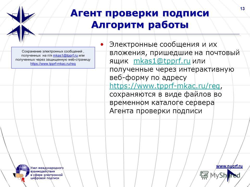 www.nucrf.ru 13 Агент проверки подписи Алгоритм работы Электронные сообщения и их вложения, пришедшие на почтовый ящик mkas1@tpprf.ru или полученные через интерактивную веб-форму по адресу https://www.tpprf-mkac.ru/req, сохраняются в виде файлов во в