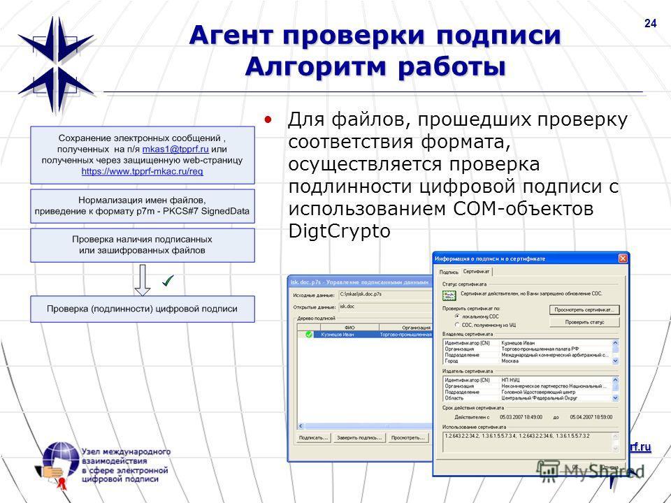 www.nucrf.ru 24 Агент проверки подписи Алгоритм работы Для файлов, прошедших проверку соответствия формата, осуществляется проверка подлинности цифровой подписи с использованием COM-объектов DigtCrypto