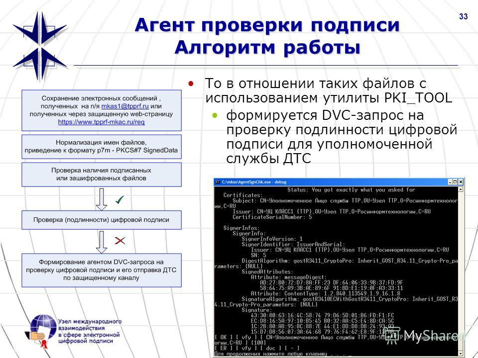 www.nucrf.ru 33 Агент проверки подписи Алгоритм работы То в отношении таких файлов с использованием утилиты PKI_TOOL формируется DVC-запрос на проверку подлинности цифровой подписи для уполномоченной службы ДТС Скриншот PKI_TOOL