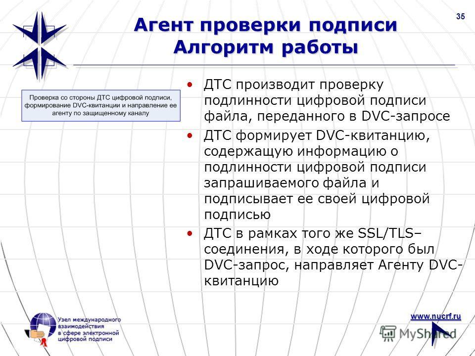 www.nucrf.ru 35 Агент проверки подписи Алгоритм работы ДТС производит проверку подлинности цифровой подписи файла, переданного в DVC-запросе ДТС формирует DVC-квитанцию, содержащую информацию о подлинности цифровой подписи запрашиваемого файла и подп