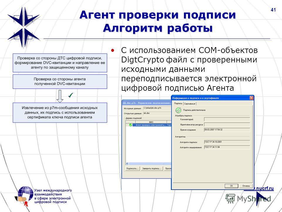 www.nucrf.ru 41 Агент проверки подписи Алгоритм работы С использованием COM-объектов DigtCrypto файл с проверенными исходными данными переподписывается электронной цифровой подписью Агента