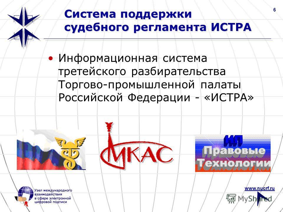 www.nucrf.ru 6 Система поддержки судебного регламента ИСТРА Информационная система третейского разбирательства Торгово-промышленной палаты Российской Федерации - «ИСТРА»
