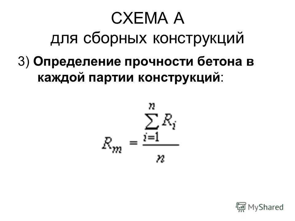 СХЕМА А для сборных конструкций 3) Определение прочности бетона в каждой партии конструкций: