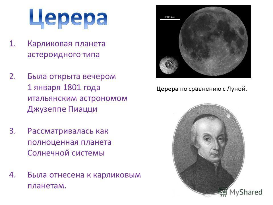 1.Карликовая планета астероидного типа 2.Была открыта вечером 1 января 1801 года итальянским астрономом Джузеппе Пиацци 3.Рассматривалась как полноценная планета Солнечной системы 4.Была отнесена к карликовым планетам. Церера по сравнению с Луной.