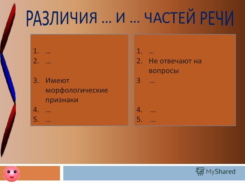 1. … 2. … 3. Имеют морфологические признаки 4. … 5. … 1. … 2. Не отвечают на вопросы 3 … 4. … 5. …