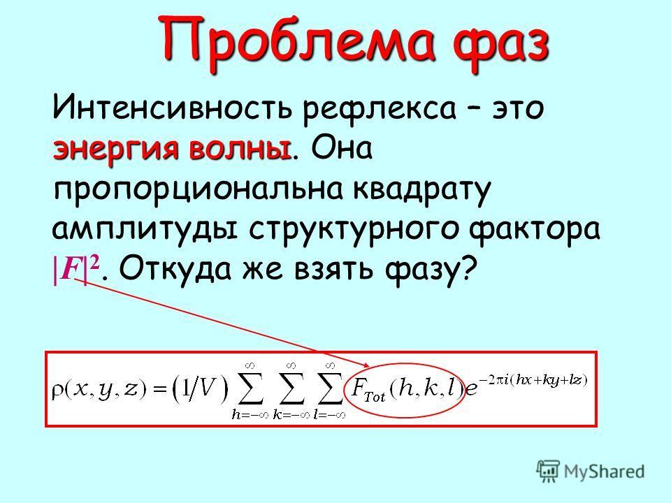 Проблема фаз Проблема фаз энергия волны Интенсивность рефлекса – это энергия волны. Она пропорциональна квадрату амплитуды структурного фактора |F| 2. Откуда же взять фазу?