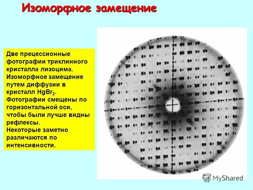 Изоморфное замещение Две прецессионные фотографии триклинного кристалла лизоцима. Изоморфное замещение путем диффузии в кристалл HgBr 2. Фотографии смещены по горизонтальной оси, чтобы были лучше видны рефлексы. Некоторые заметно различаются по интен