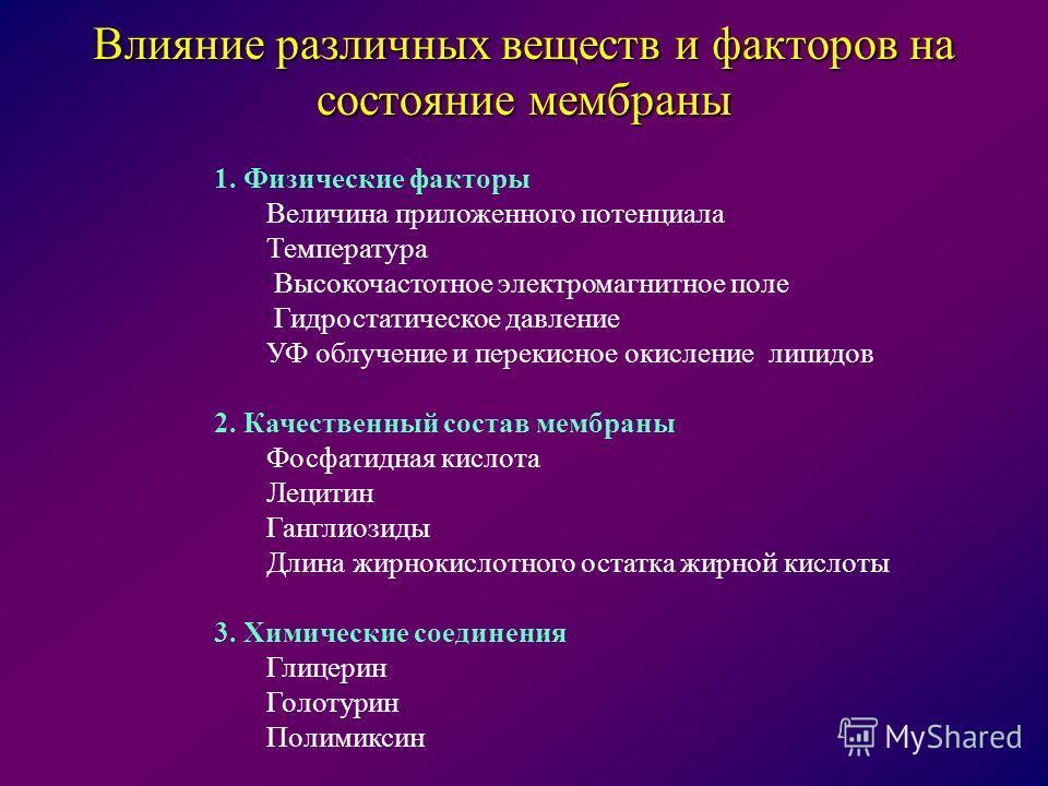 1. Физические факторы Величина приложенного потенциала Температура Высокочастотное электромагнитное поле Гидростатическое давление УФ облучение и перекисное окисление липидов 2. Качественный состав мембраны Фосфатидная кислота Лецитин Ганглиозиды Дли