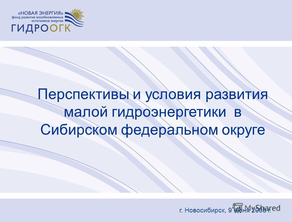 Перспективы и условия развития малой гидроэнергетики в Сибирском федеральном округе г. Новосибирск, 9 июня 2008 г.