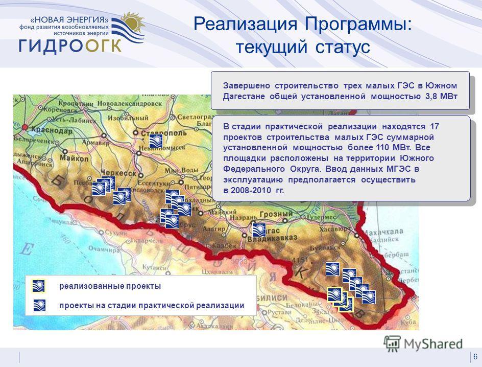 Реализация Программы: текущий статус 6 Завершено строительство трех малых ГЭС в Южном Дагестане общей установленной мощностью 3,8 МВт В стадии практической реализации находятся 17 проектов строительства малых ГЭС суммарной установленной мощностью бол