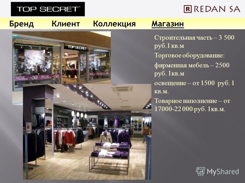 БрендКлиентКоллекцияМагазин Строительная часть – 3 500 руб.1 кв. м Торговое оборудование : фирменная мебель – 2500 руб. 1 кв. м освещение – от 1500 руб. 1 кв. м. Товарное наполнение – от 17000-22 000 руб. 1 кв. м.