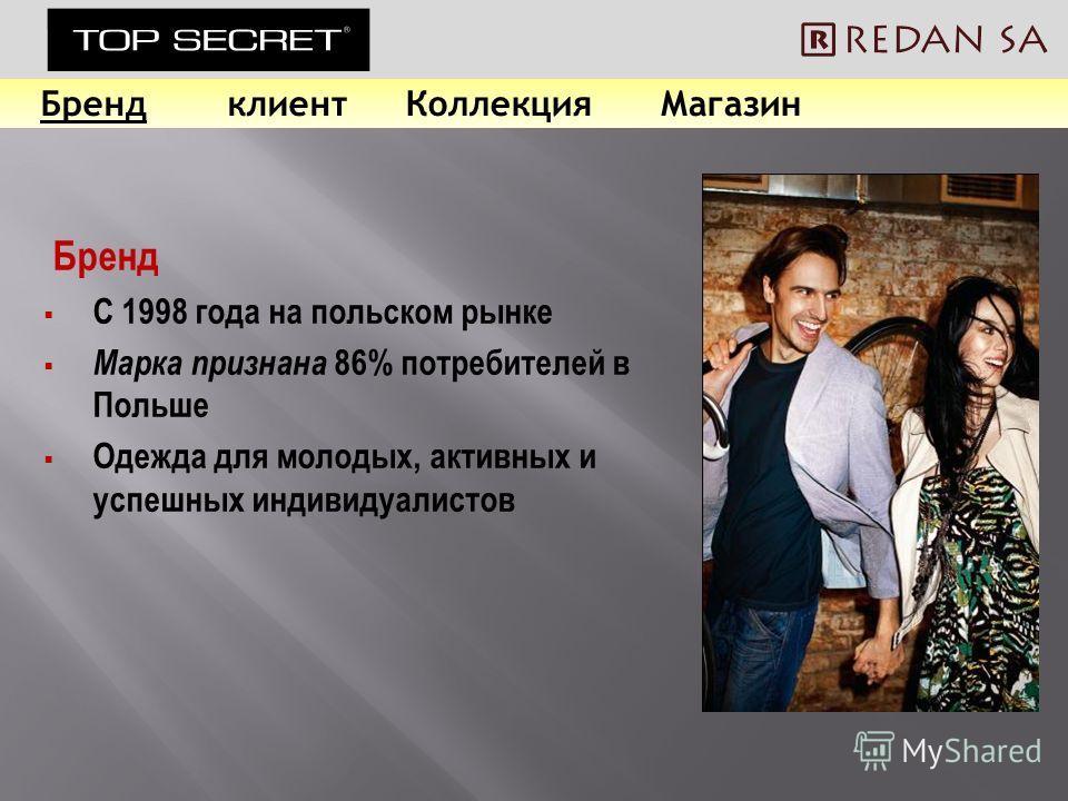 Бренд С 1998 года на польском рынке Марка признана 86% потребителей в Польше Одежда для молодых, активных и успешных индивидуалистов БрендклиентКоллекцияМагазин