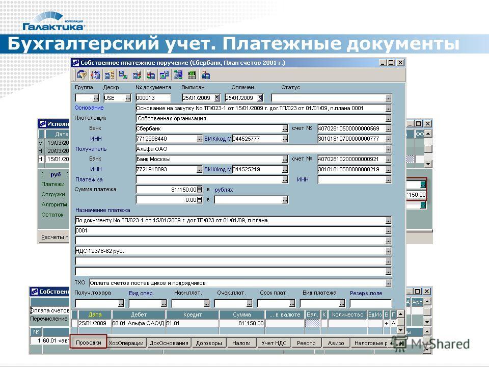 Бухгалтерский учет. Платежные документы
