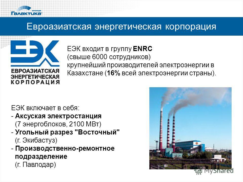 Евроазиатская энергетическая корпорация ЕЭК входит в группу ENRC (свыше 6000 сотрудников) крупнейший производителей электроэнергии в Казахстане (16% всей электроэнергии страны). ЕЭК включает в себя: - Аксуская электростанция (7 энергоблоков, 2100 МВт