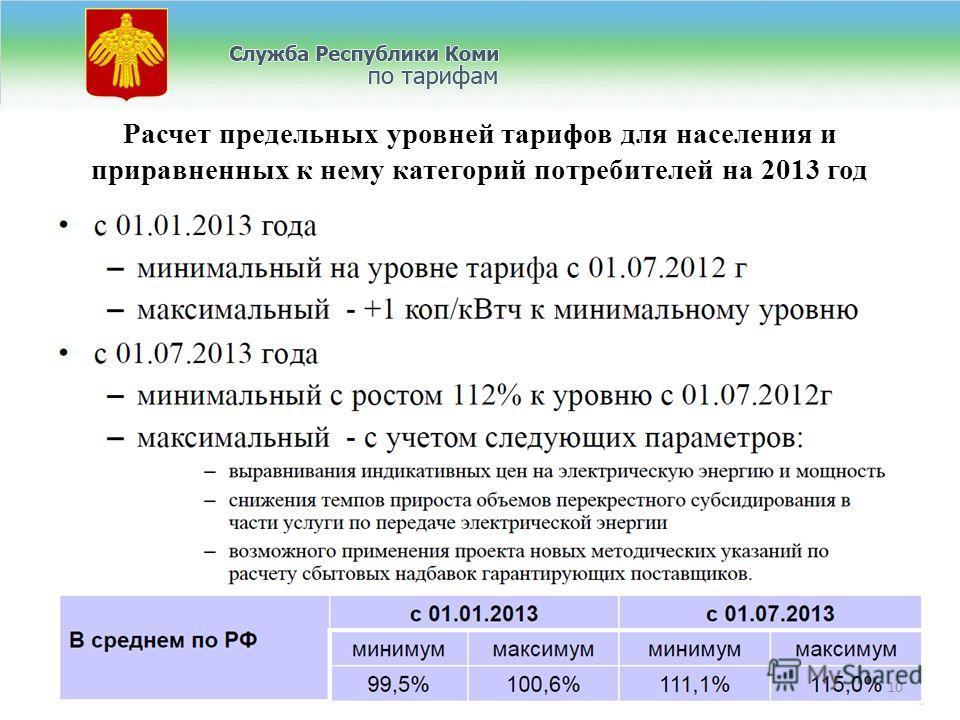Расчет предельных уровней тарифов для населения и приравненных к нему категорий потребителей на 2013 год 10