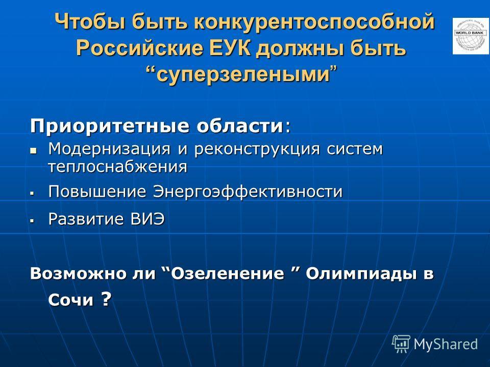 Чтобы быть конкурентоспособной Российские ЕУК должны бытьсуперзелеными Чтобы быть конкурентоспособной Российские ЕУК должны бытьсуперзелеными Приоритетные области: Модернизация и реконструкция систем теплоснабжения Модернизация и реконструкция систем