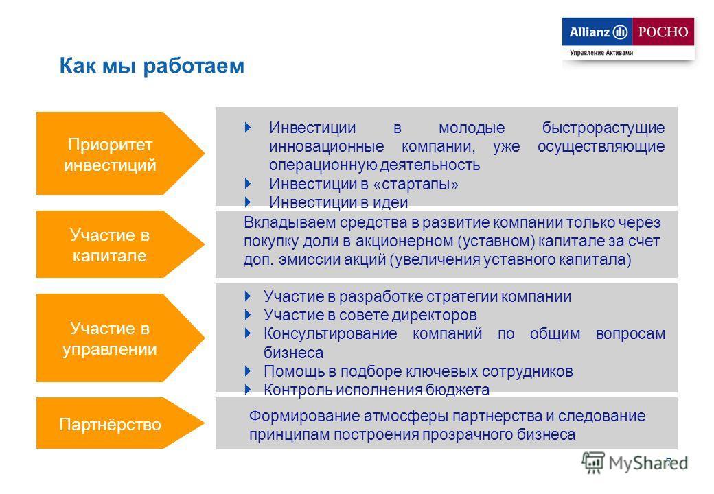 7 Как мы работаем Приоритет инвестиций Участие в капитале Участие в управлении Партнёрство Инвестиции в молодые быстрорастущие инновационные компании, уже осуществляющие операционную деятельность Инвестиции в «стартапы» Инвестиции в идеи Вкладываем с