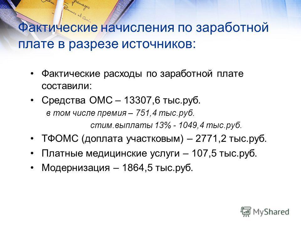 Фактические начисления по заработной плате в разрезе источников: Фактические расходы по заработной плате составили: Средства ОМС – 13307,6 тыс.руб. в том числе премия – 751,4 тыс.руб. стим.выплаты 13% - 1049,4 тыс.руб. ТФОМС (доплата участковым) – 27