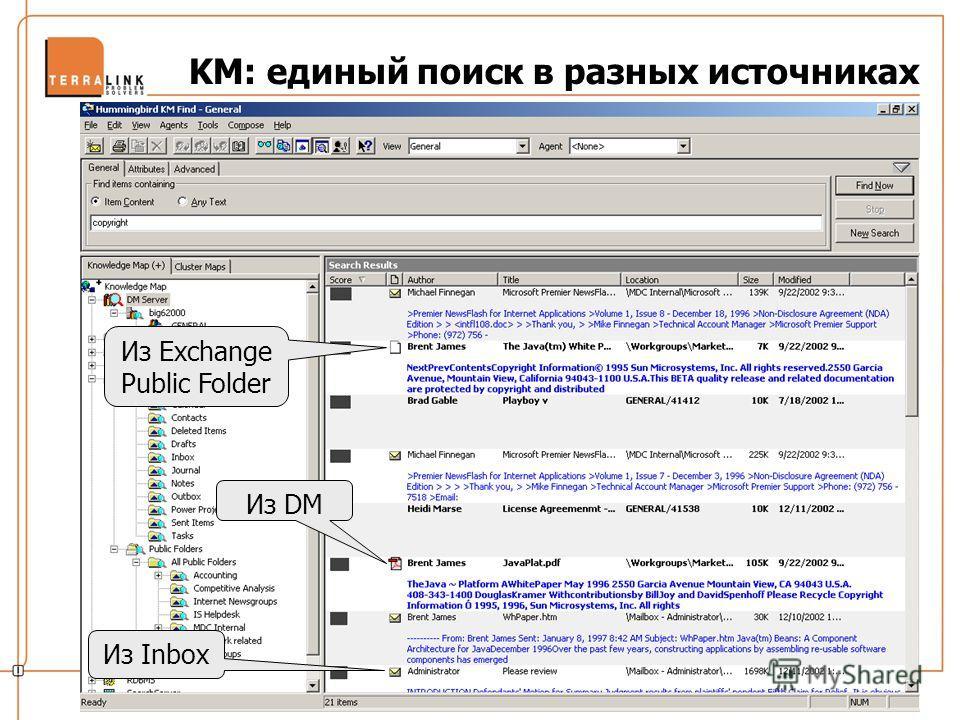 Из Exchange Public Folder Из DM Из Inbox KM: единый поиск в разных источниках
