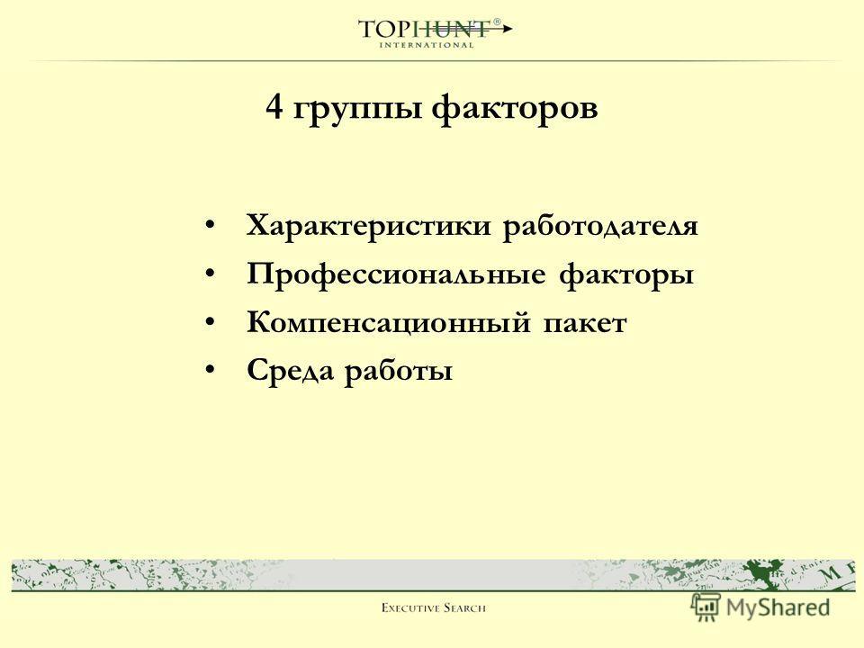 4 группы факторов Характеристики работодателя Профессиональные факторы Компенсационный пакет Среда работы