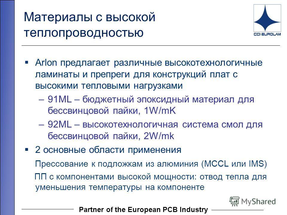 Partner of the European PCB Industry Материалы с высокой теплопроводностью Arlon предлагает различные высокотехнологичные ламинаты и препреги для конструкций плат с высокими тепловыми нагрузками –91ML – бюджетный эпоксидный материал для бессвинцовой