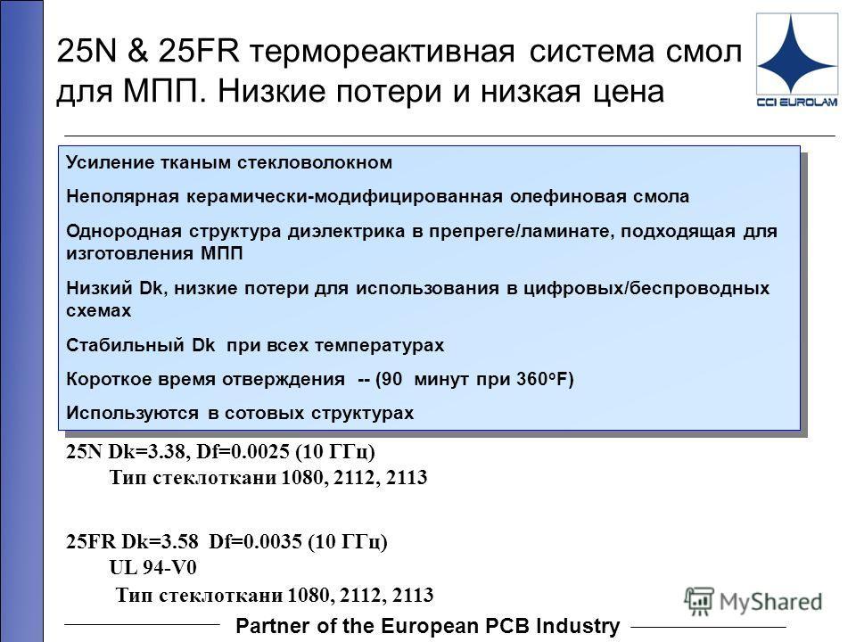 Partner of the European PCB Industry 25N Dk=3.38, Df=0.0025 (10 ГГц) Тип стеклоткани 1080, 2112, 2113 25FR Dk=3.58 Df=0.0035 (10 ГГц) UL 94-V0 Тип стеклоткани 1080, 2112, 2113 25N & 25FR термореактивная система смол для МПП. Низкие потери и низкая це